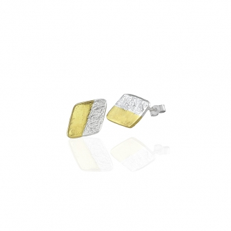 Fine Silver Sterling Earrings Studs Gold 999 925 Keum Boo Handmade Oxidised