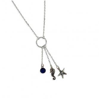 Sterling Silber 925 Kette Seepferd Seestern Synthetischer Blauer Saphir Cabochon Handgefertigt