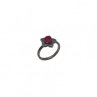 Sterling Silver Ring Flower 925 935 950 Oxidised Gemstone Cabochon Synthetic Ruby Citrine Red Yellow Handmade