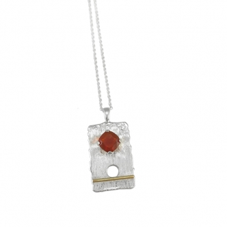 Silver Pendant Fine Silver Gemstones Fire Opal Gold Handmade Hand Forged