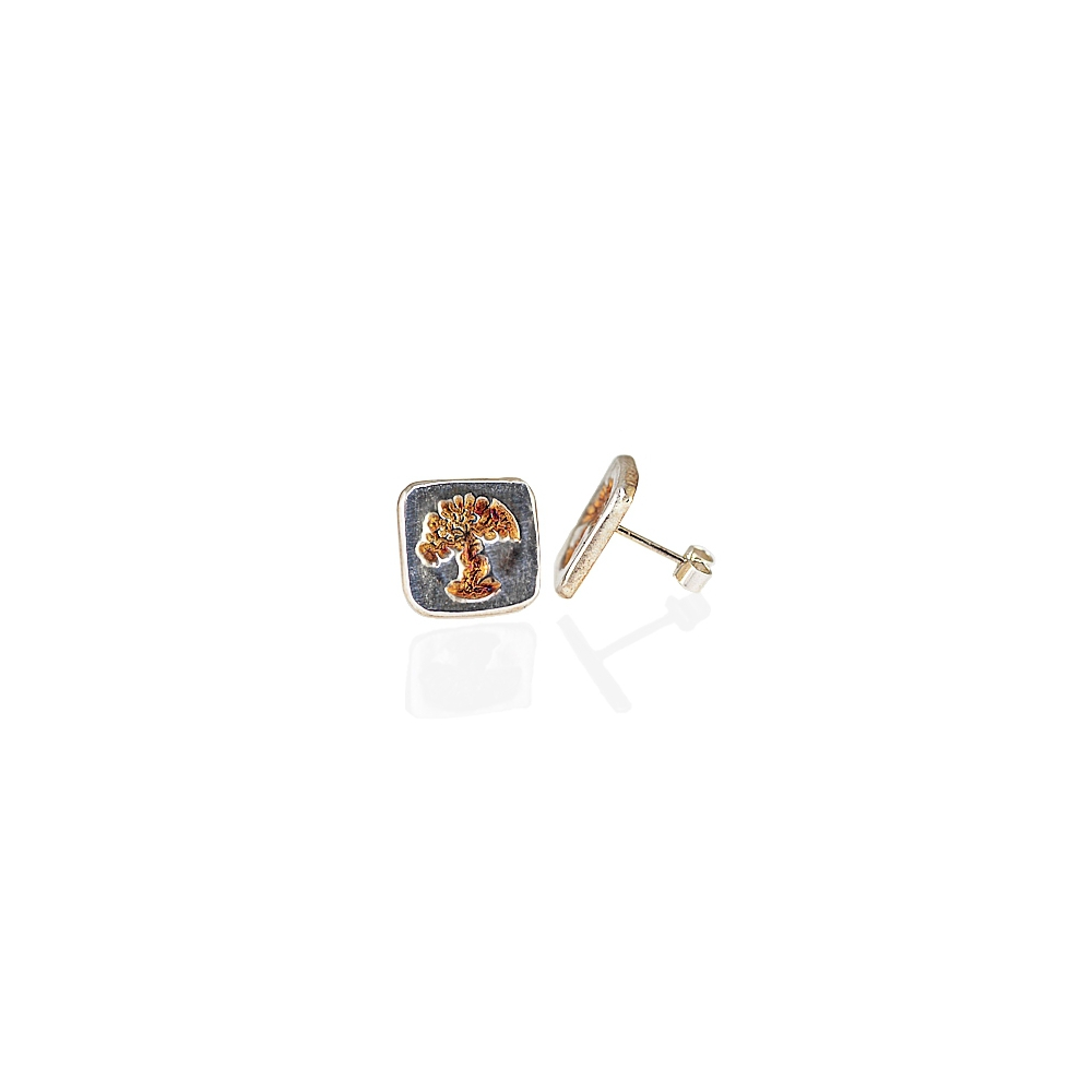 Silver Sterling Fine Tree Oxidised Studs Handmade Earrings