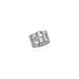 Ring Feinsilber 999 Sterling HOPE Hoffnung Stamped Geschmiedet Handgefertigt Handgearbeitet Metal Clay Handschrift
