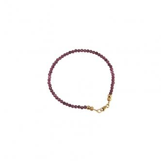 Natürliche Rubine Edelsteine Armband Sterling Silber 925 Vergoldet Rubin Handgefertigt Handgearbeitet