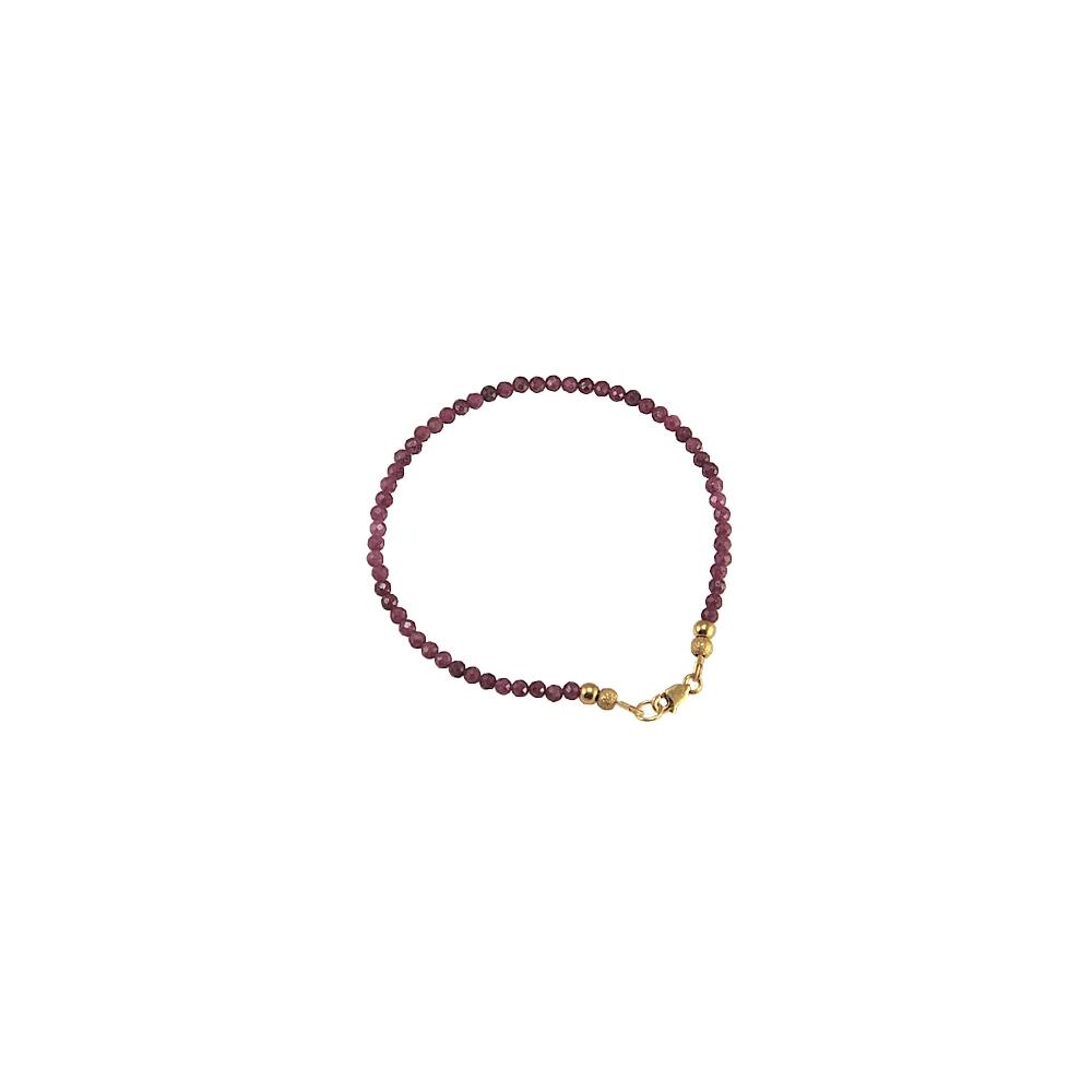 Natural Ruby Bracelet Sterling Silver Gold Plated Handmade Gemstones
