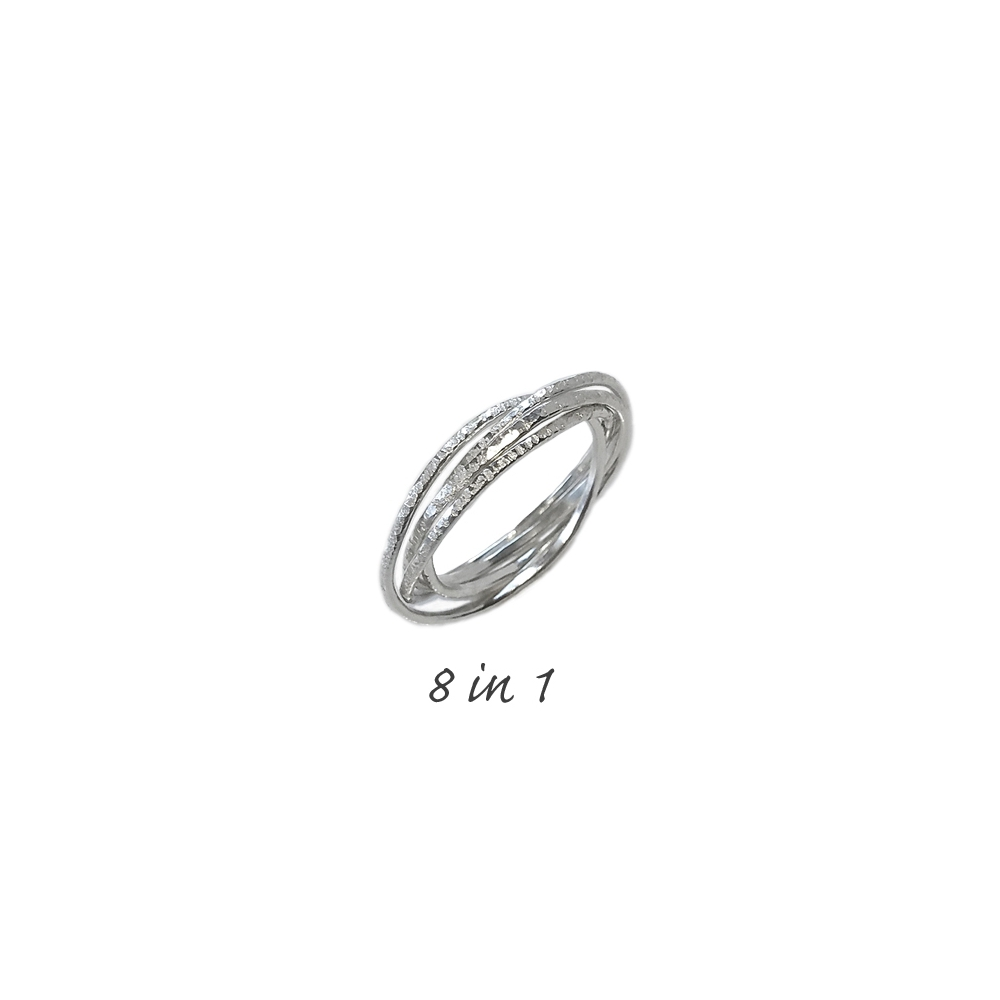 Argentium® 935 Silver Sterling Ring 8 in 1 8 Rings Connected Hammered Handmade