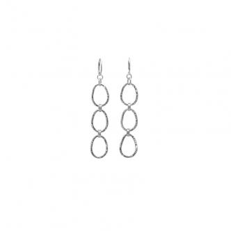 Long Silver Drop Earrings