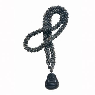 Labradorite and Agate Buddha Necklace Crochet Handmade Black Grey Gemstones