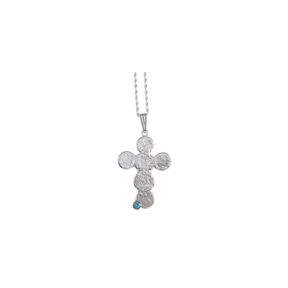 Cross Freeform 950 Sterling Silver Pendant Necklace Handmade CZ Blue Metal Clay