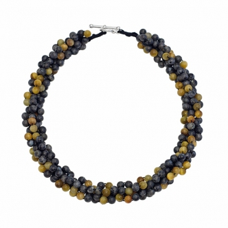 Labradorite and TigerEye Gold Coloured Gemstone Statement Crochet Necklace Handmade