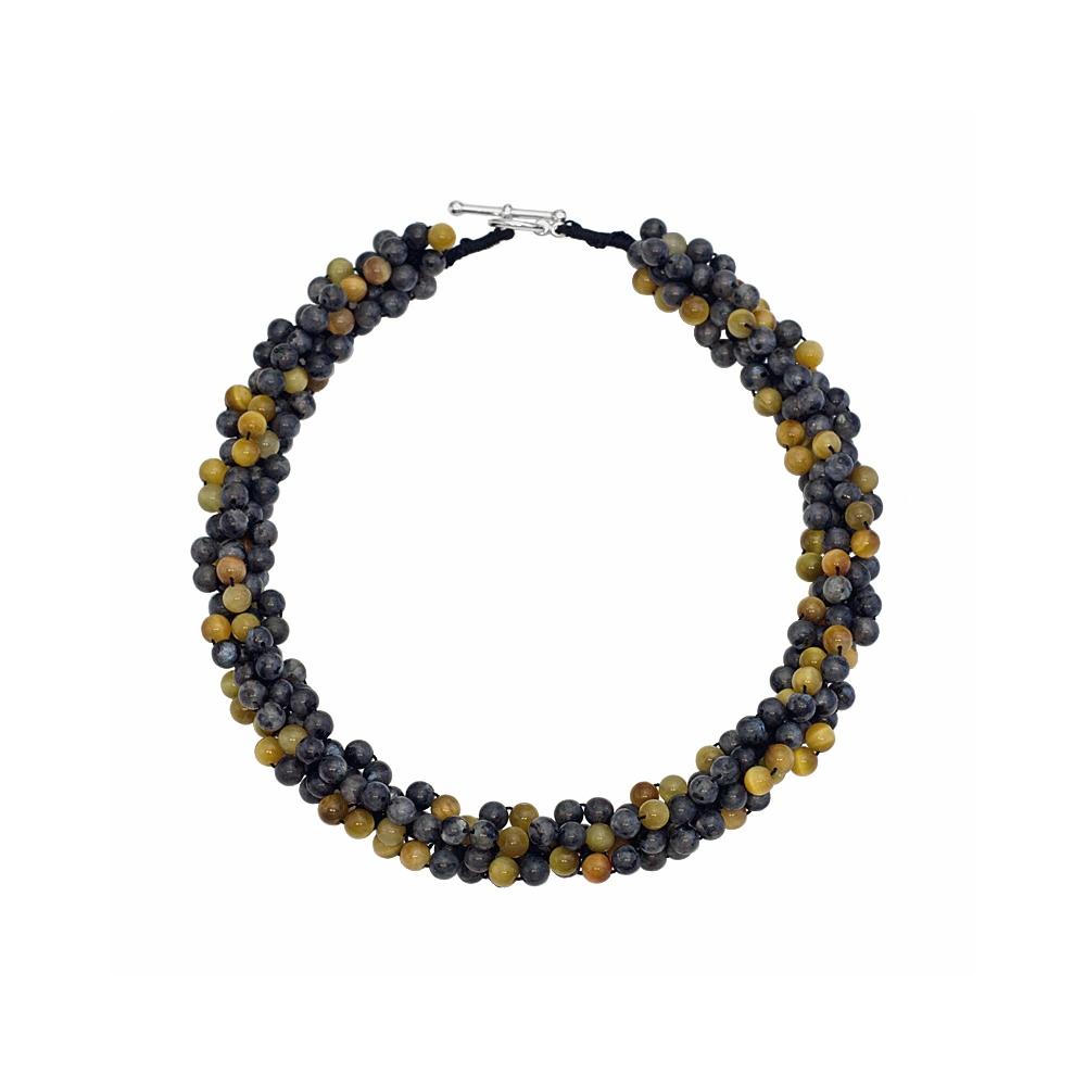 Labradorite and TigerEye Gold Coloured Gemstone Statement Crochet Necklace Handmade