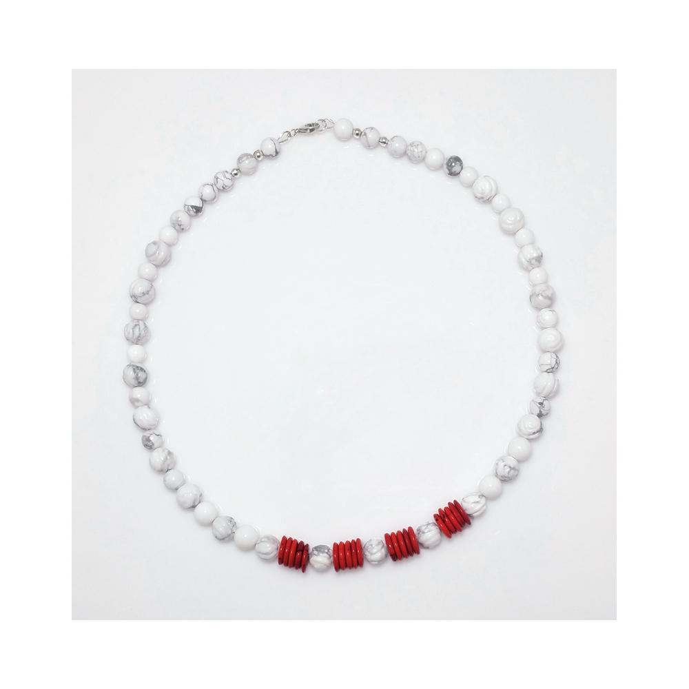 Magnesite Roses Gemstone Necklace White Red Handmade