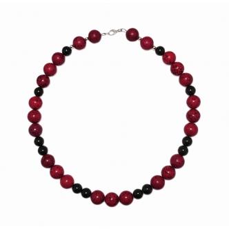 Red Magnesite Gemstone Black Statement Necklace