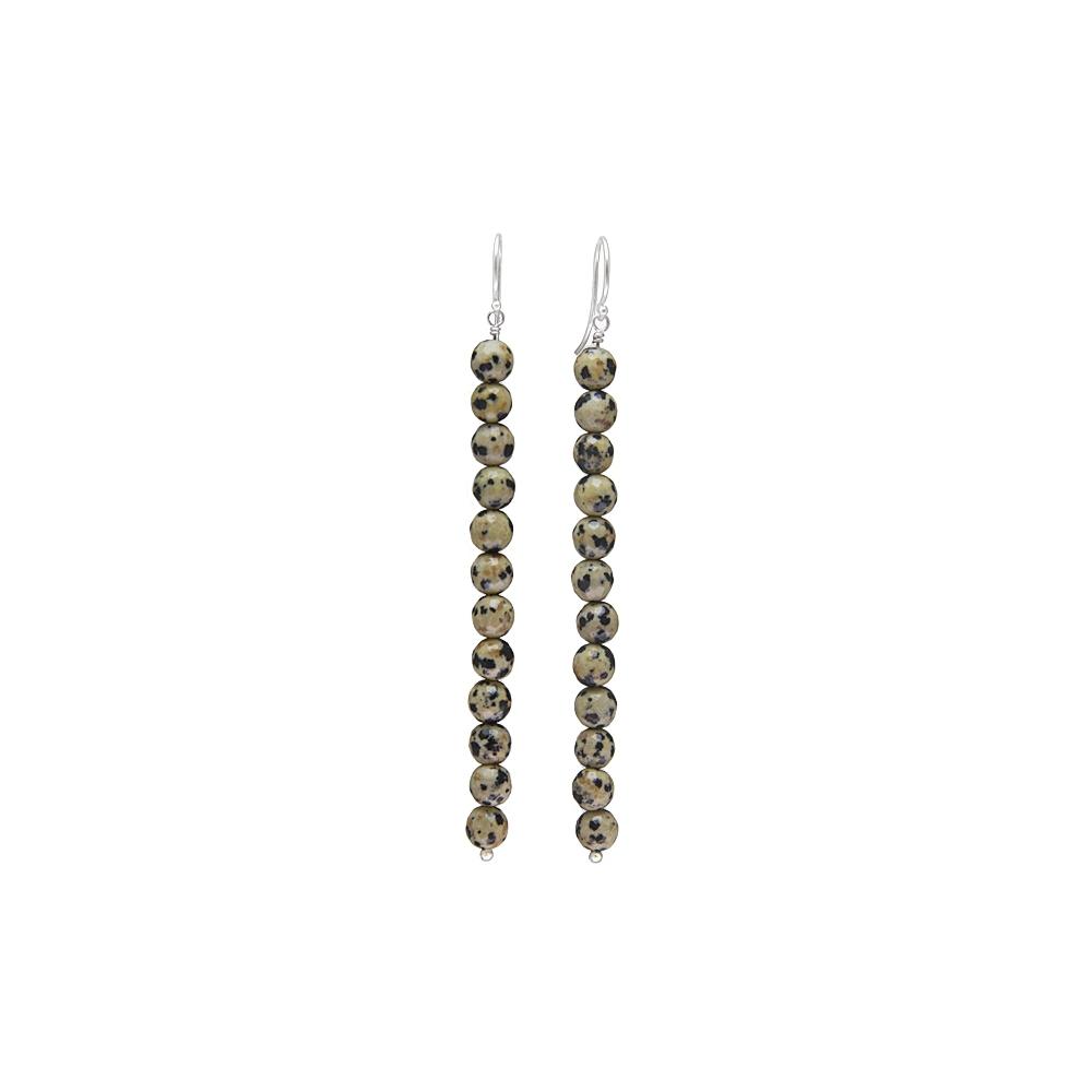 Long Dalmation Gemstone Jasper Earrings Sterling Silver 925 Handmade