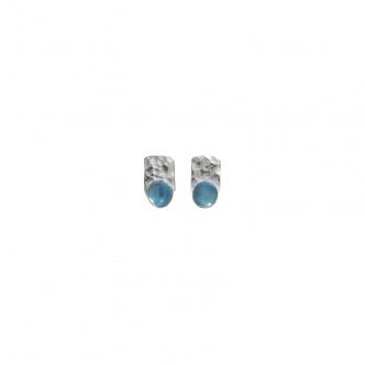 Earrings Gemstone Topaz Blue Sterling Silver 925 935 Handmade Cabochon Studs