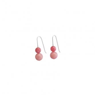 Ohrringe Sterling Silber und Jade Pink Rosa 935 925 Handgerfertigt Handgearbeitet