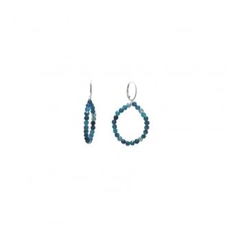 Blue Agate Hoop Earrings Sterling Silver Handmade