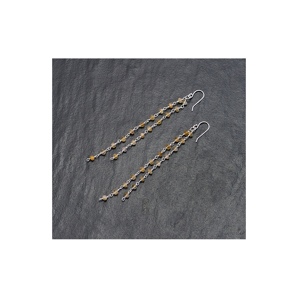 Long Citrine Gemstone Earrings Sterling Silver 925