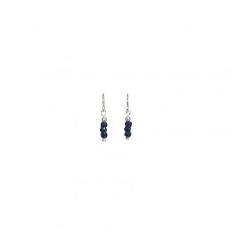 Dark Blue Sapphire Earrings Gemstones Sterling Silver 925