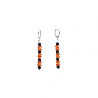Coral Orange Black Onyx Earrings Long Sterling Silver 925