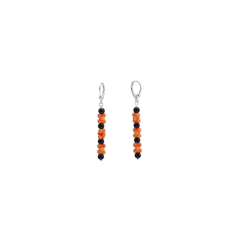 Koralle Orange Onyx Schwarz Ohrringe Ohrhänger Sterling Silber 925