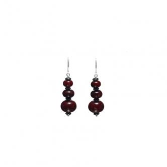 Dark Red Chrysocolla Earrings Gemstone Sterling Silver 925