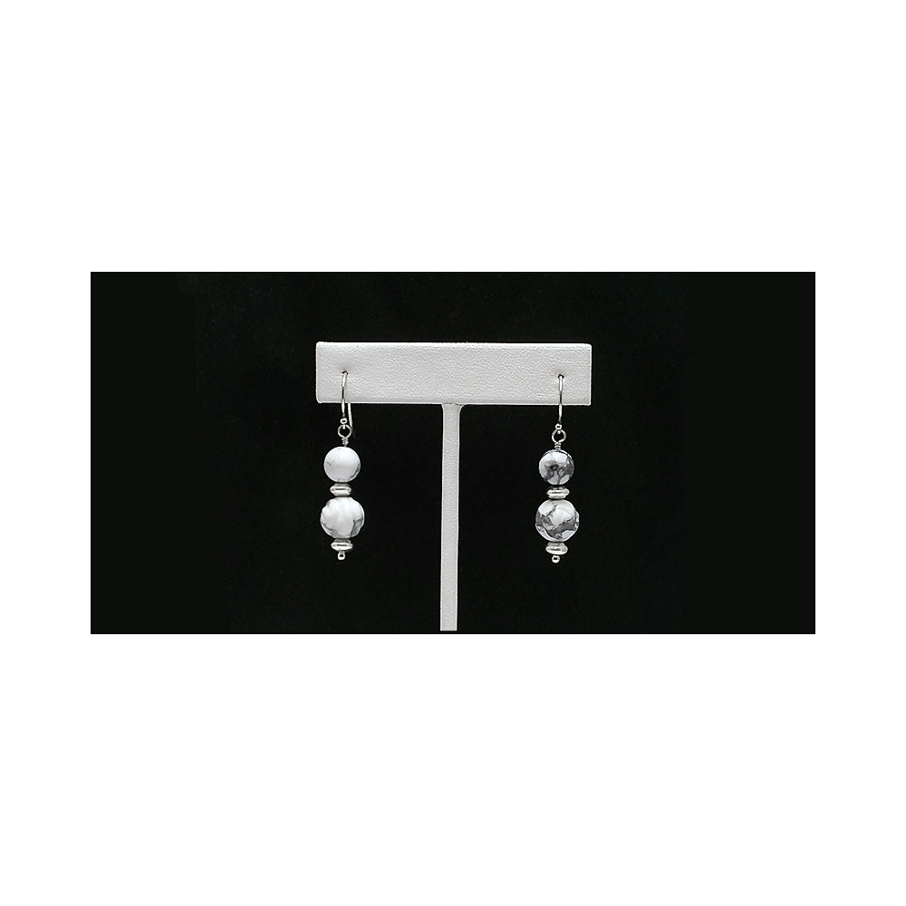 Magnesite Rose and Silver Earrings Gemstone Sterling Silver 925