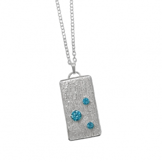 960 Sterling Silver and Aqua Blue CZ Pendant Metal Clay 925 Handmade Necklace Art Clay
