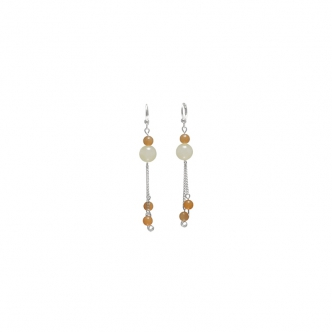 Yellow Jade and Silver Dangly Earrings Gemstones Summer Bright Handmade Long Sterling Silver 925