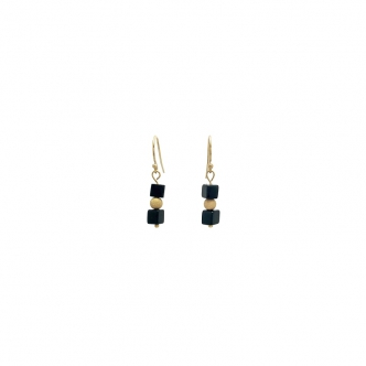 Kleine Ohrringe Ohrhänger Gold-Filled Gold Gefüllt Edelstein Onyx Schwarz Handgefertigt