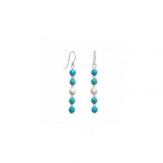 Howlite and Sterling Silver Earrings White Blue Green Handmade Long 925