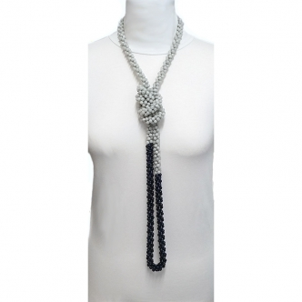 Extra Long Crochet Necklace Jade Grey and Dark Blue Handmade