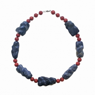 Sodalite Gemstone Statement Necklace Coral Red Blue Handmade