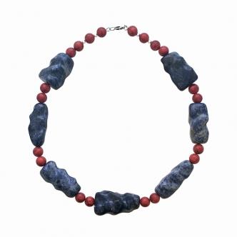 Sodalite Gemstone Statement Necklace Coral Red Blue Handmade