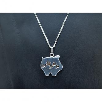 HAPPY Schweinchen Schwein Anhänger Kette Handgefertigt Geschmiedet Sterling Silber 925 950 Metal Clay