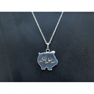 Happy Piggy Pig Pendant Necklace Animal Stamped Sterling Silver Handmade 950 Metal Clay