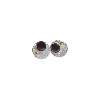 Sterling Silver 925 950 Studs Earrings Flower Texture Gemstone Cabochon Garnet Citrine Aventurine Ruby Yellow Gold Handmade