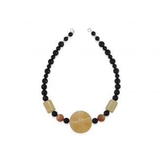 Statement Kette Handgefertigt Achat Obsidian Schwarz Gelb Orange Edelsteinkette