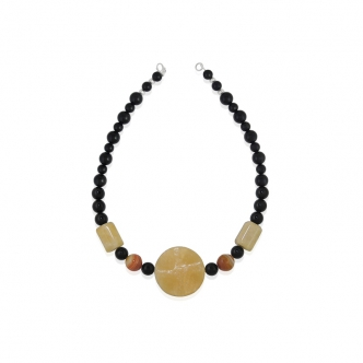 Statement Necklace Handmade Obsidian Citrine Chalcedony Black Yellow Orange Agate Gemstones