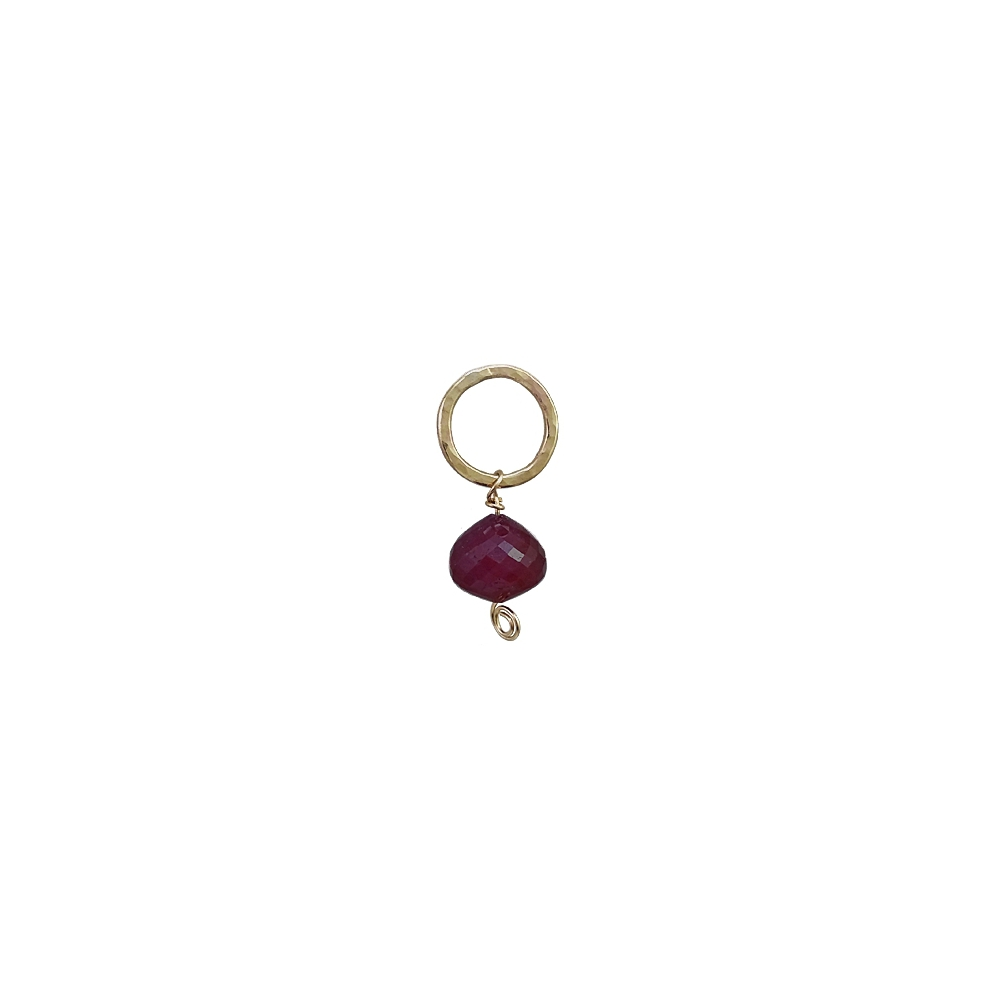 Gold Ruby Drop Gemstone Pendant Red Handmade Necklace Hammered