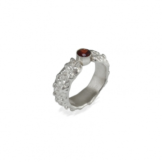 Sterling Silver Ring Gemstone Garnet Red Handmade Bubble