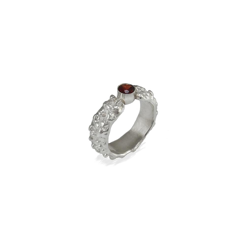Sterling Silber Ring 950 925 Edelstein Granat Handgefertigt Handgemacht Goldschmiede Metal Clay Bubble Rot