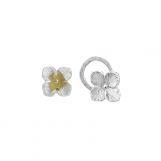 Sterling Silver Earrings Studs 925 Fein 999 Keum Boo Gold Handmade Flower Small