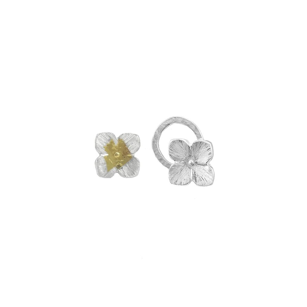Sterling Silver Earrings Studs 925 Fein 999 Keum Boo Gold Handmade Flower Small