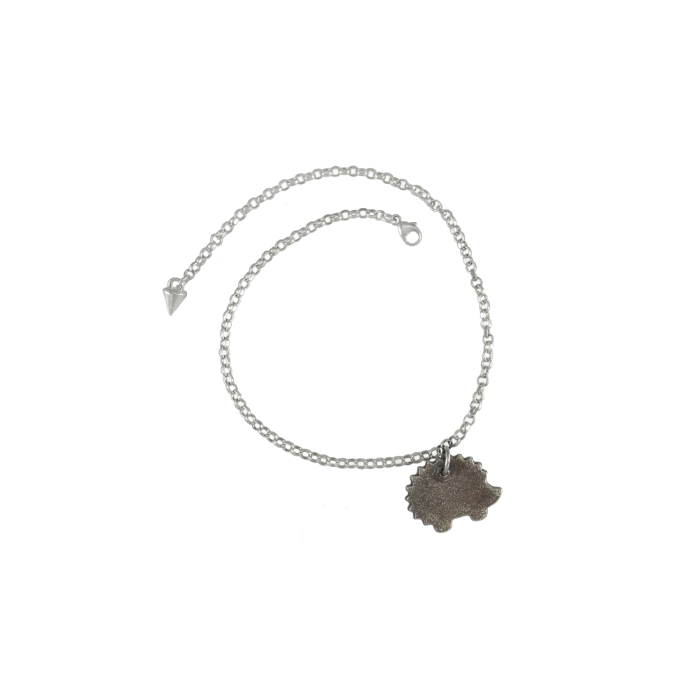 Sterling Fine Silver 999 925 935 Animal Hedgehog Oxidised Anklet Handmade