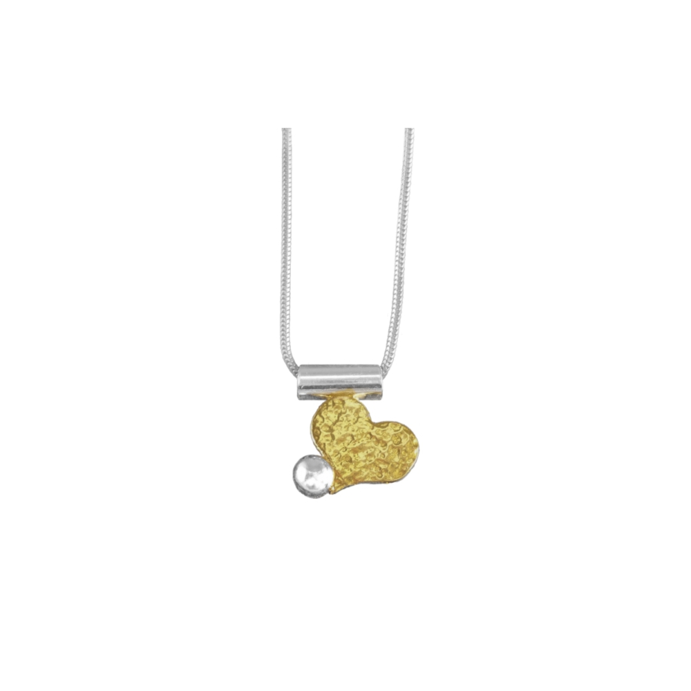 Pendant Necklace Heart Sterling Silver Fine Keum Boo Gold 999 950 925 Handmade