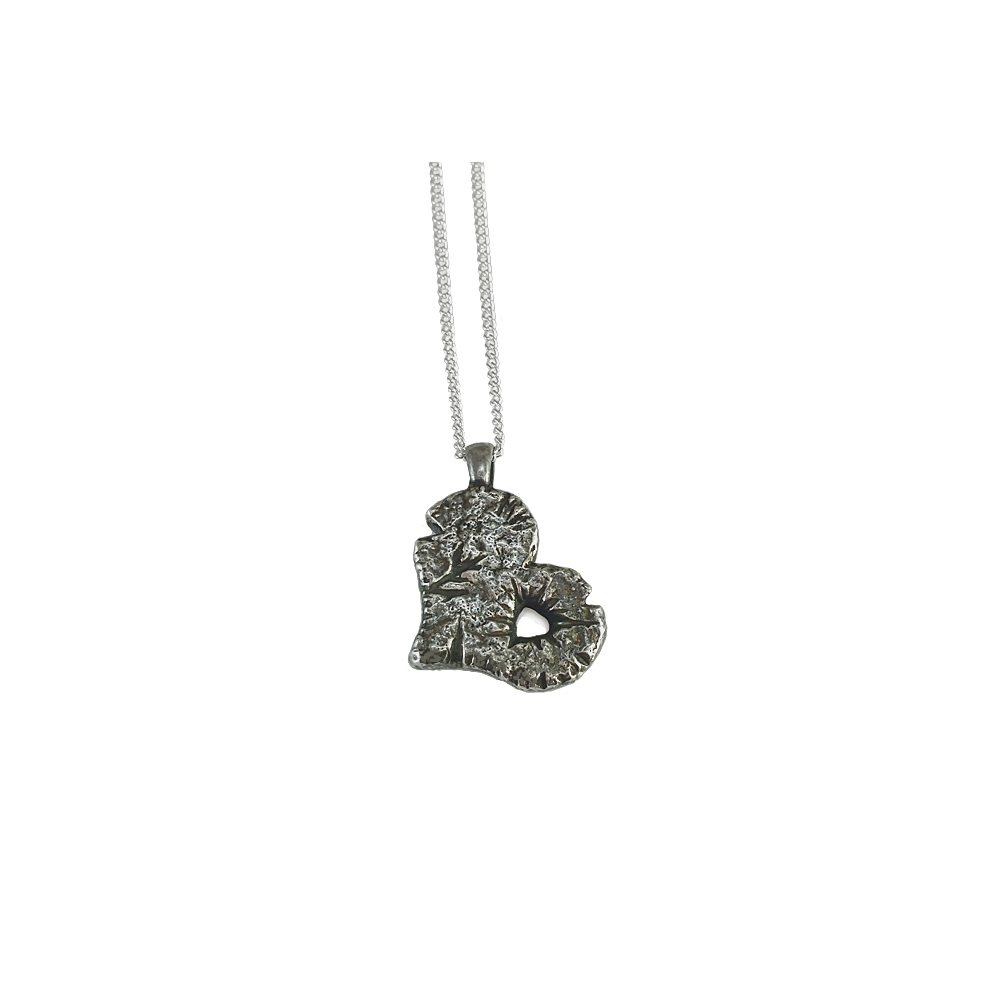 Solid Big Silver Heart Statement Pendant Necklace Oxidised Heavy Handmade Metal Clay Fine Silver 999 925 Sterling