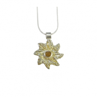 Fine Sterling Silver Pendant Gold Sun Resin 999 950 925 Bicolour Handmade