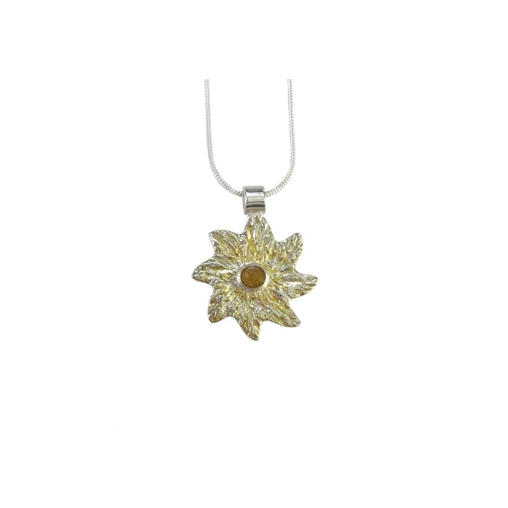Feinsilber Sterling Silber Anhänger Sonne Gold Resin Harz Handgefertigt Goldschmiede Handgearbeitet
