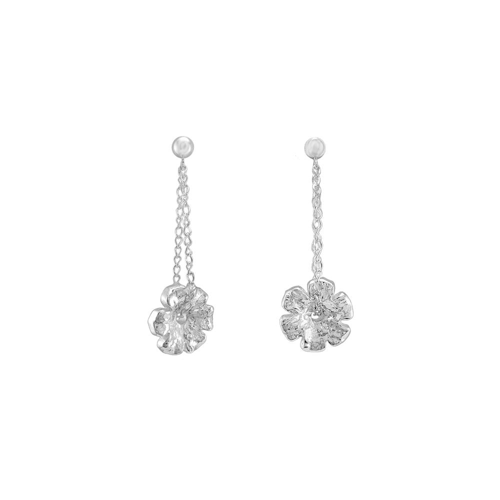 Sterling Silver Earrings Flowers Chain Handmade