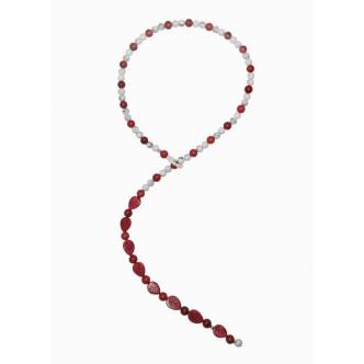 Kette mit Magnesit, Rot, rund und in Blätter Form, Weißen Howlith Edelsteinen, Handgefertigt